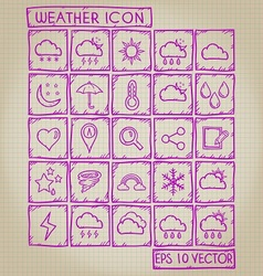 Weather Icon Doodle Set vector image vector image