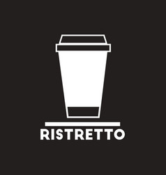 white icon on black background ristretto to vector image