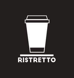 White icon on black background ristretto to vector