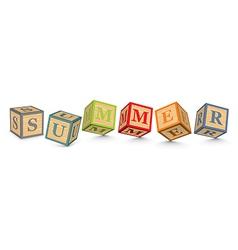 Word summer written with alphabet blocks vector