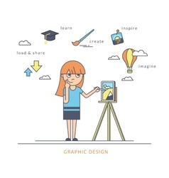 Young redhair girl using a tablet pc and drawing vector