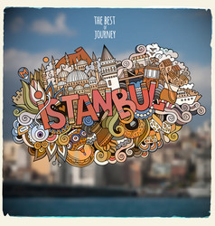 istanbul hand lettering and doodles elements and vector image