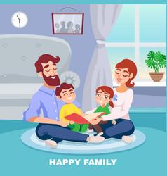 Happy family cartoon poster vector