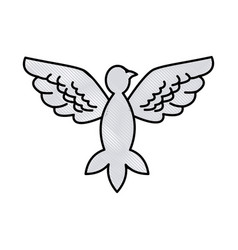 Drawing bird pigeon freedom peace wings open vector