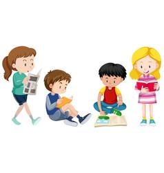 four kids reading books vector image