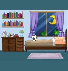 bedroom scene with wooden furniture vector image