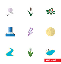 Flat icon bio set of pond cattail lightning and vector