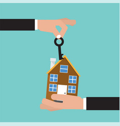 Hand give key and home house buying real estate vector