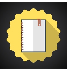 Designer Notebook Paper Sheet Flat Icon with long vector image