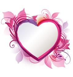 pink floral heart background vector image