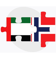 United arab emirates and norway flags vector
