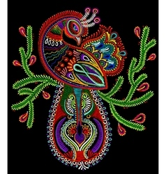 Ethnic folk art of peacock bird with flowering vector