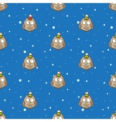 owls in hats pattern Christmas and New vector image