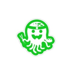 stylish paper sticker on white background octopus vector image