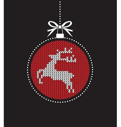 Red ball balls knitted reindeer vector