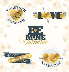 Set of valentines day typography elements golden vector