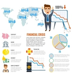 Crisis symbols business sign finance flat vector