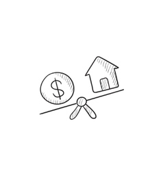 House and dollar symbol on scales sketch icon vector image