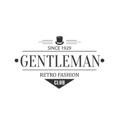 Retro fashion gentleman club label design vector