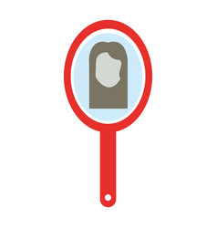 barber mirror with woman reflection vector image