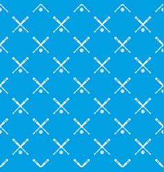 baseball bat and ball pattern seamless blue vector image vector image