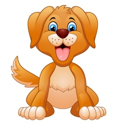 Cartoon cute dog sitting vector image vector image