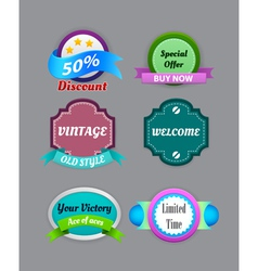 Collection of vintage colorful design labels vector image vector image