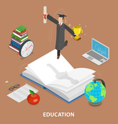Education flat isometric low poly concept vector