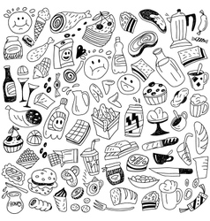 fast food doodles vector image