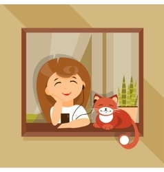 Girl and cat in the headphones vector