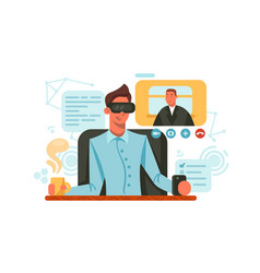 guy with glasses of virtual reality vector image vector image