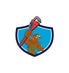 Hawk mechanic pipe wrench crest cartoon vector