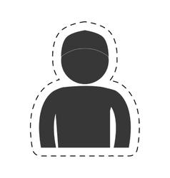 man front view cap figure pictogram vector image