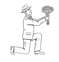 Man gives flowers bouquet coloring book vector