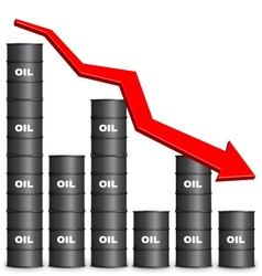 Oil barrels arranged in bar graph form down trend vector