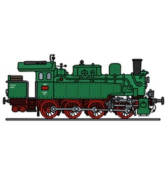 Old green steam locomotive vector