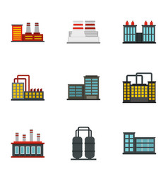 power plant icons set flat style vector image