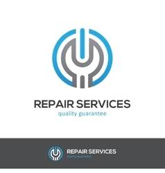 Repair services logo with wrench and power button vector image vector image