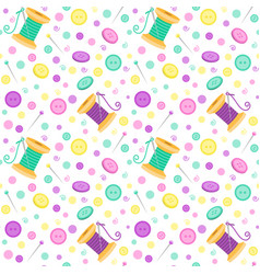 seamless pattern with sewing related symbols vector image vector image