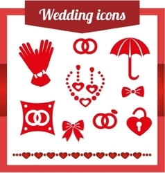 Set red wedding icons jewelry earrings vector image vector image