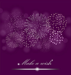 Silver firework show on ambient purple blurred vector