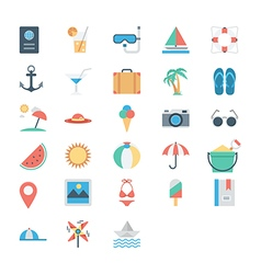 Summer and holidays colored icons 1 vector