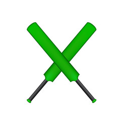 Two crossed old oars in green design vector