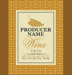 wine label in a frame on the basket vector image vector image