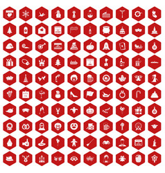 100 holidays icons hexagon red vector