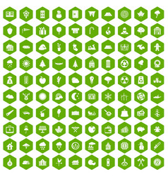 100 lumberjack icons hexagon green vector
