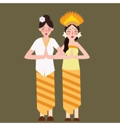 Two girls represent indonesia ethnic group wearing vector