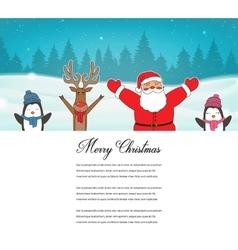 Christmas card with Santa Reindeer Penguins vector image