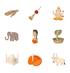Country of india icons set cartoon style vector