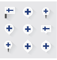 finland flag and pins for infographic and map vector image